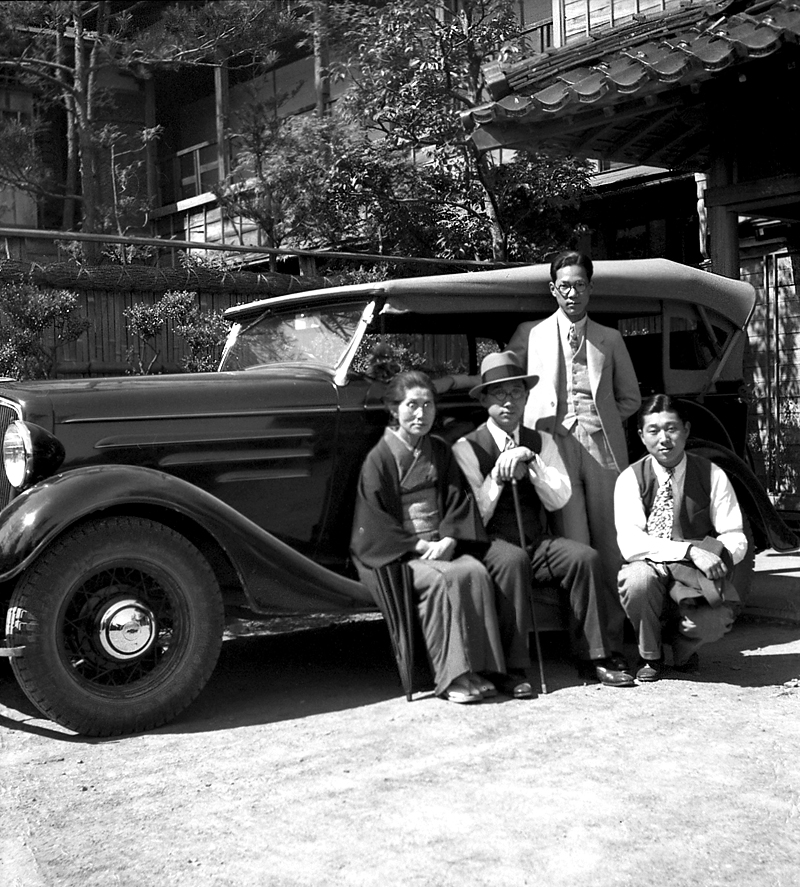 vintage japanese negatives family by car