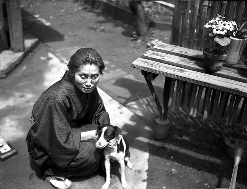 vintage japanese negatives lady with dog
