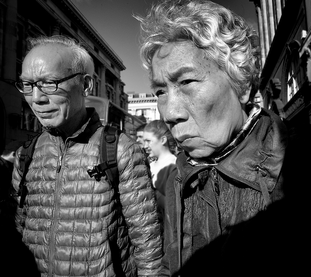 old Japanese couple pictured in London